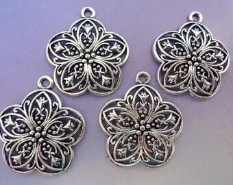4 pendants, flower, Oktoberfest, bavarian, antique silver