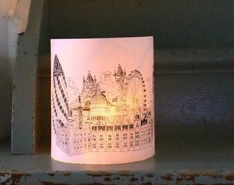 LARGE LONDON Illuminated Paper lantern Originally Hand Drawn - just add candle