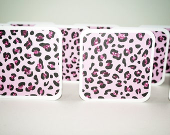 Mini Cards, Pink Leopard Print Card, Square Cards, 3x3 Cards, Bank Cards with Envelopes, Pink Animal Print Card, Pink Cheetah Print Cards