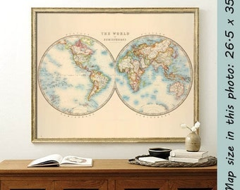 Old map of the world -  World map in two hemispheres -  Decorative mao of the world