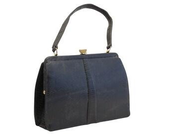 Vintage Navy Leather Handbag, Mappin & Webb, 1950s Purse, Top Handle Bag