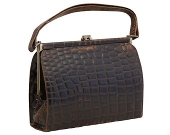 Vintage Brown Leather Crocodile Handbag, Purse, Top Handle Bag, 1950s