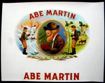 Abe Martin cigar box label 1930s vintage inner box label