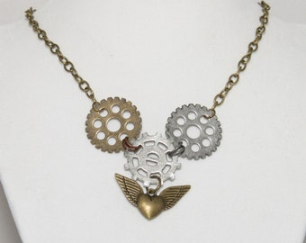 Steampunk Heart Wing and Gear Necklace