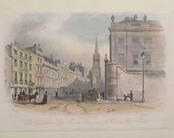 Antique Engraving 1844, Bath, England, Christopher Hotel sc. J. Shury artist W. Williams Hand colored