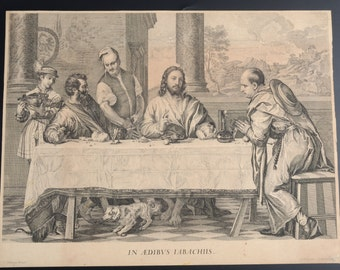 """Antique Engraving ca.1656 Christ """" Supper at Emmaus """" IN AEDIBUS IABACHIIS after Titian, Francois Chauveau"""
