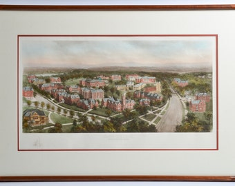 Vintage 1910s Aerial Birdseye View of Smith College Northampton Massachusetts Colored Photogravure R. Rummell Littig & Company NY