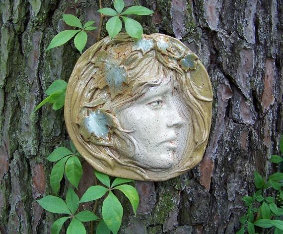 Autumn Breeze - Ceramic Wall Art  /Original Mask Sculpture/Lady Face