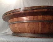 Extra Large Wooden Bowl with Brass Straps