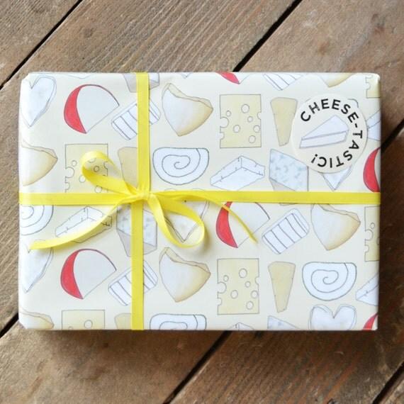 Kaas verpakken van papier - Gift Wrap voor voedsel-minnaar - Cheesy geschenkverpakking - geschenk voor kaas liefhebber