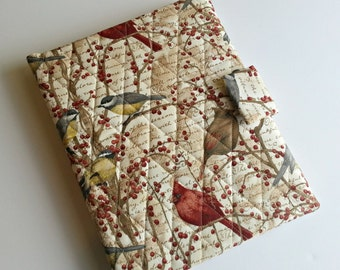 iPad/iPad air cover/Kindle HD 8.9/10 inch cover/Samsung Tab A cover quilted in Winter Birds print