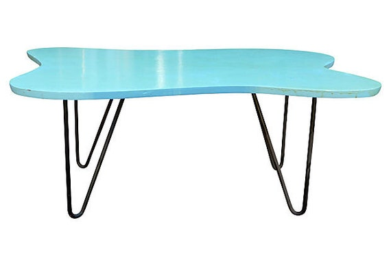 Turquoise Mid Century Modern Coffee Table Hairpin Legs By Circa60