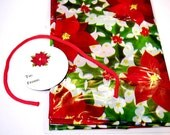 "Giant Gift Bag, Christmas Holiday Poinsettia Plastic Opaque Gift Wrap Sack w/Tag Cording Extra Large 36"" x 44"" Party Supply itsyourcountry"