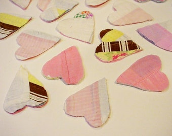 Vintage Heart Appliques, Patchwork Shabby Cutter Quilt Prim Feedsack Hand Quilted Crafting Embellishments, Upcycled Old Quilt itsyourcountry
