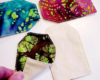 Batik Fabric Quilt Labels, Cotton Tags, DIY Everyday All Occasion Hang Tags, Place Cards Organizing Labels Name Tags set of 4 itsyourcountry