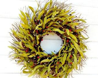 Fall Wreath-Fall Home Decor-Rustic Home Decor-Housewarming Gift-Holiday Door Decor-Rustic Home Decor-Bay Leaf TWIG Wreath-Scented Wreath