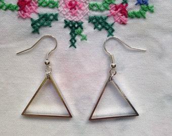 Silver geometric triangle earrings