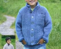 Boys Knitting Pattern K3721 Childrens Long Sleeve Fishermans Rib Cardigans with Pocket Knitting Pattern Aran (Worsted) King Cole