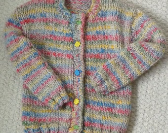 Hand Knitted Super Chunky (Super Bulky) Children's Multi Coloured Cardigan