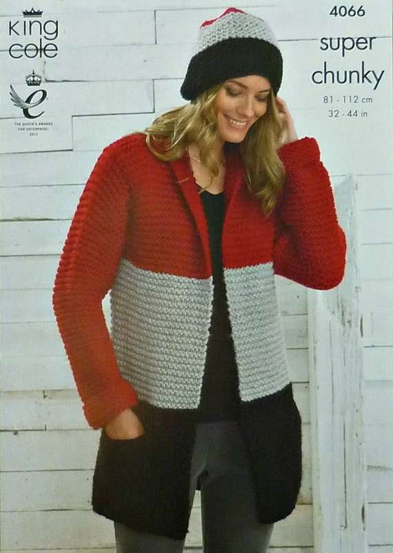 Womens Knitting Pattern K4066 Ladies Long Sleeve 3 Colour Easy Knit