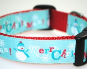 "Snowman Merry Christmas 1"" Adjustable Dog Collar - Limited Availability"