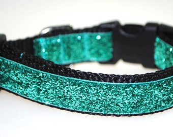 "Teal Metallic Glitter 3/4"" Width Adjustable Collar"
