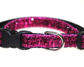 """Metallic Fuchsia Glitter Collar - 3/8"""" Adjustable Cat Collar"""