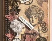 Steampunk Collaged Flowers Butterfly Gears Clock Stamped Birthday Card for a Woman