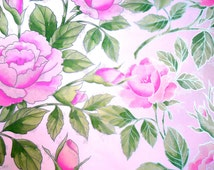 1970 Vintage Pink Peony Pink Rose Rose Wrapping Paper Scrapbooking Craft Altered Art  Pink Gift Wrap Paper