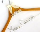 Personalized Wedding Hanger, Name Hanger, Wedding Date Charm, Bride Hanger, Ribbon, Shower Gift, Wedding Party Gift