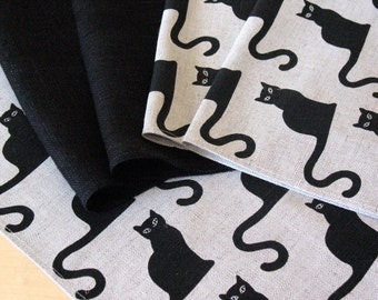 "Linen Napkin Halloween Cat Black set of 6 - Flax - 18""x18"" size"