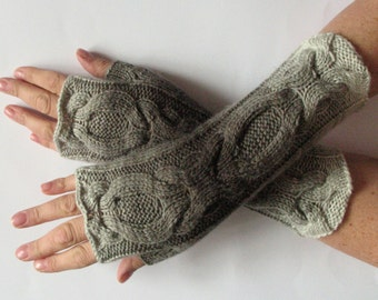 Fingerless Gloves Gray Black Arm Warmers Knit Soft