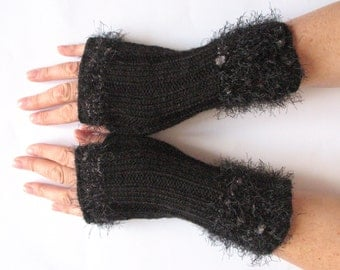 Fingerless Gloves Dark Gray Arm Warmers Mittens Knit Acrylic