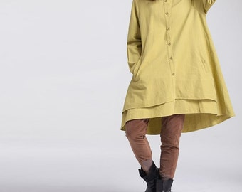Women Loose long sleeved dress Loose fitting yellow dress