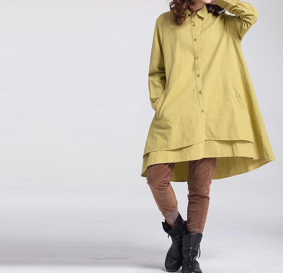 Women Loose long sleeved shirt Asymmetric yellow shirt