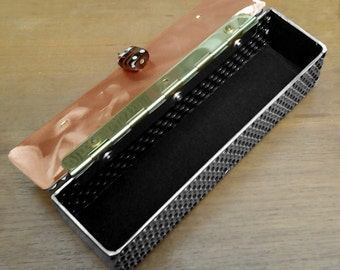 Delaforja Tri-Metal Small Honeycomb Box with Individualized Pendants (model shown with Glass Bead Pendant)