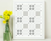 Welsh Blanket Pattern Print. 8x10 Welsh Love Cariad Caru. Wales. Shabby Chic. Grey tones. Geometric patterns.