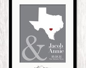 Unique Wedding Shower Gift Wedding Table Decoration Reception Decor Anniversary Gift for Husband Custom State Map Texas Gift - ANY STATE MAP