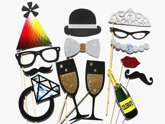 Photo Booth Props - 14 Piece Wedding Party Favor GLITTER Set - Photobooth Wedding Photo Props Birthday