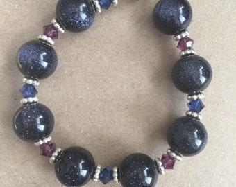 Sparkly Black Gemstone with Navy and Purple Swarovski Crystal Bracelet