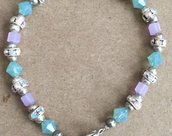 Cloudy Blue and Pink Swarovski Crystal with AB Swarovski Rondelle Bracelet