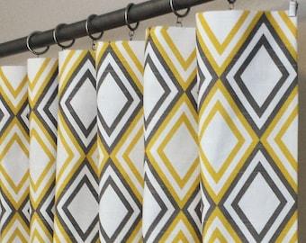 "Curtain Panels 50"" wide x 63"", 84"", 96"", 108"" Annie Corn Yellow Kelp White Slub"
