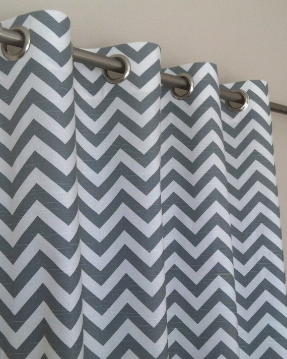 fr ne gris blanc moderne zig zag chevron rideaux passe fil. Black Bedroom Furniture Sets. Home Design Ideas