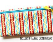 Cash or coupon organizer with 6 tabbed dividers | multicolor striped designer laminated cotton