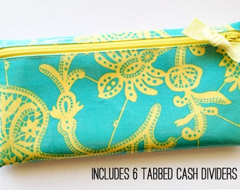 Cash budget envelope system wallet with 6 tabbed dividers | turquoise and yellow floral designer laminated cotton
