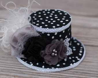 Mini Top Hat in black and white polka dots- Alice in Wonderland - Tea Party - Pageant - Birthday Photo Prop