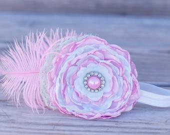 Satin Flower Couture Headband  - Photo Prop - Newborn - Bridal - Handmade Flower - Shabby Chic