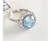 Reserved for kandie: Aquamarine Ring, platinum diamonds Huge Vintage Alternative Engagement, Cocktail Ring Aqua diamond, Estate, 40s 50s