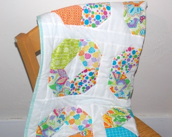 Bright lap quilt.  Lightweight blanket. Colorful wall hanging.