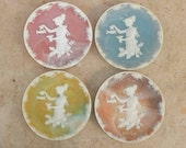 Vintage Incolay Stone Saucers Genuine Handcrafted USA Set of Four
